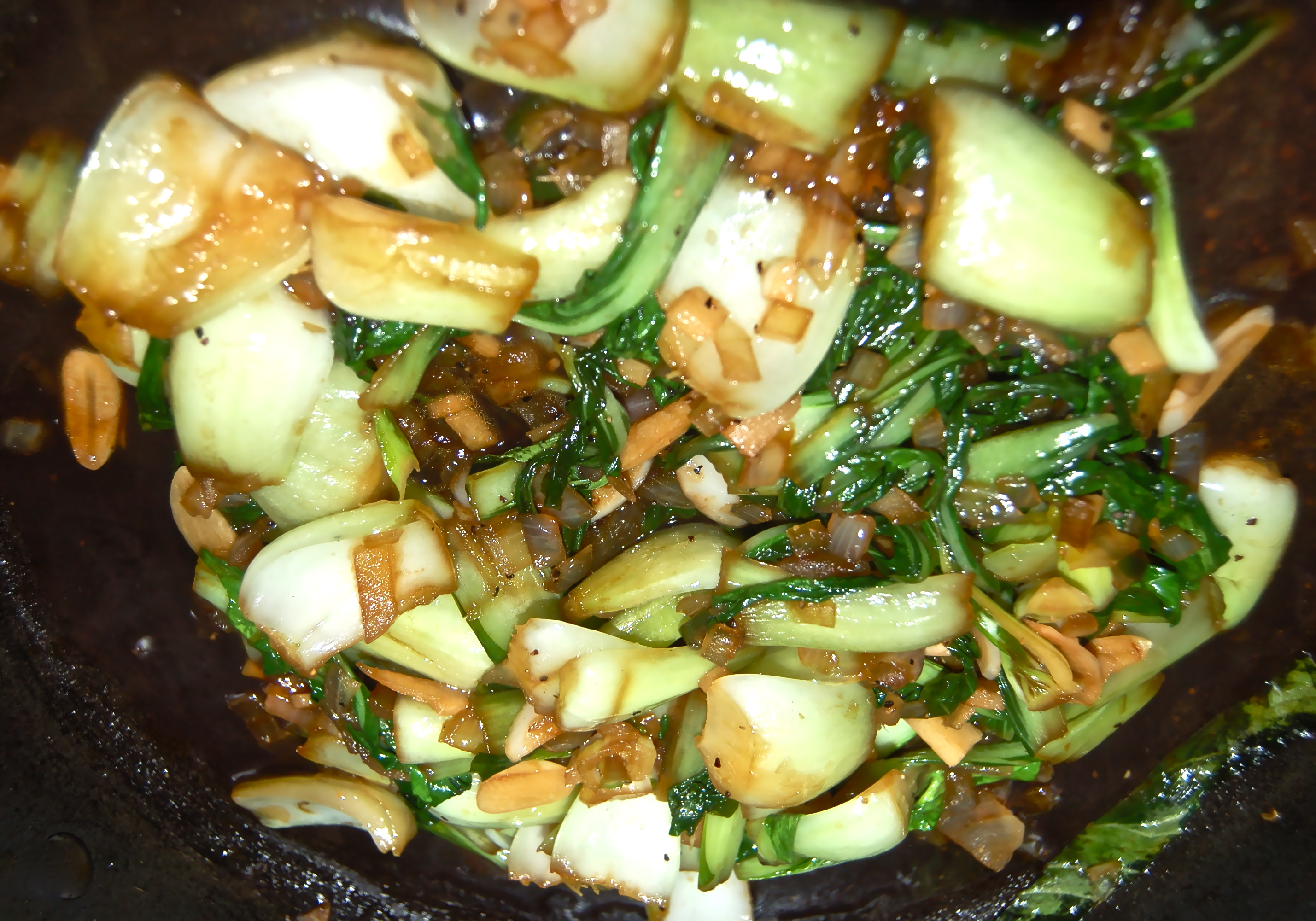 October 29, 2011 Bok Choy With Onion. Ginger & Garlic