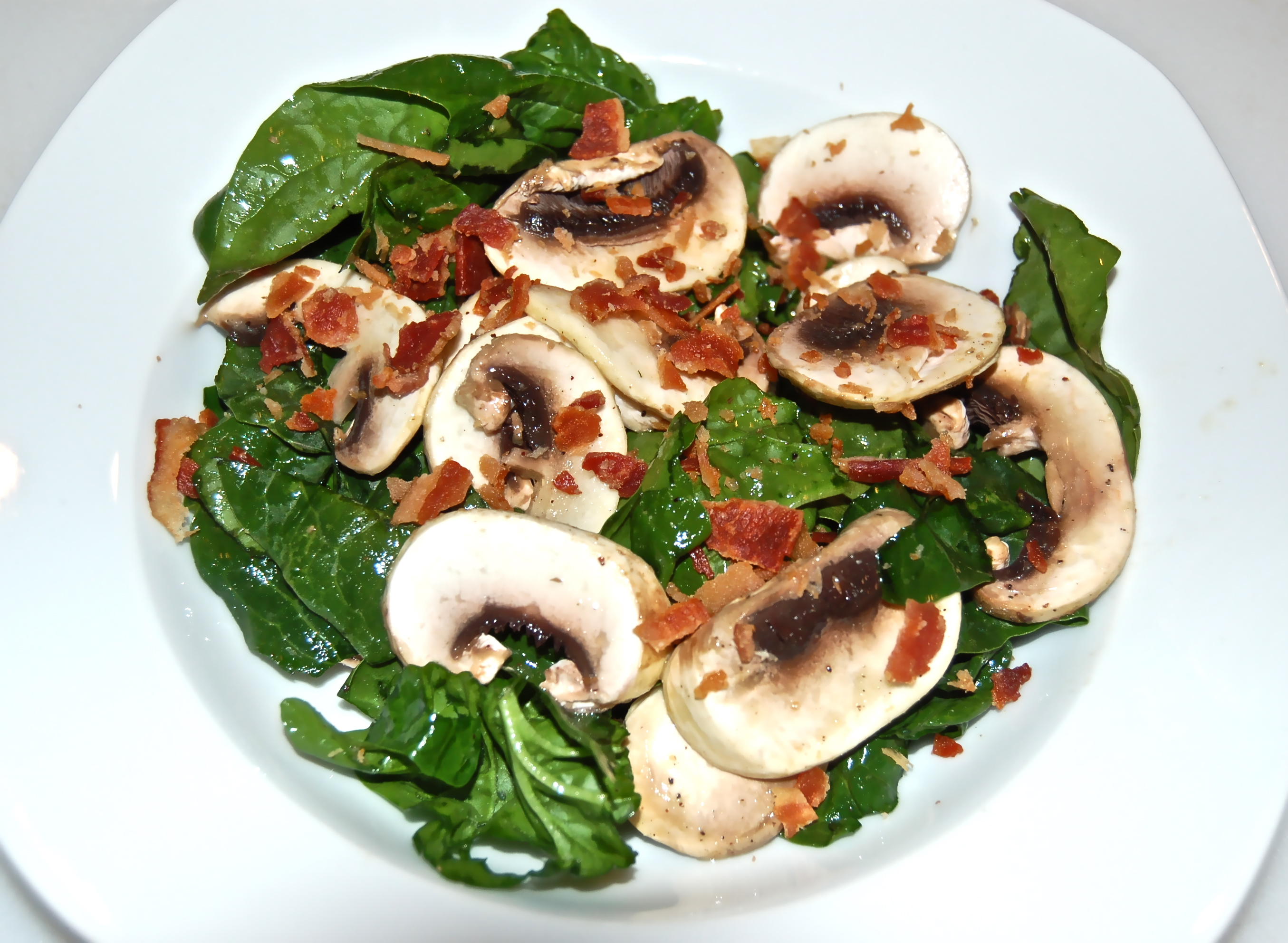 October 18, 2011 Spinach, Mushroom & Bacon Salad