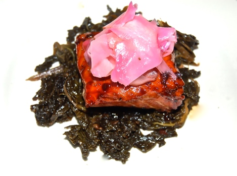 January 25, 2012 Maple Soy Salmon with Pickled Ginger & Sauteed Kale