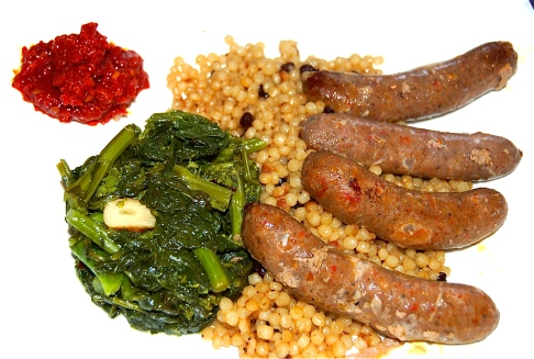 Merguez Lamb Sausage With Dried Currant Couscous, Broccoli Rabe and ...