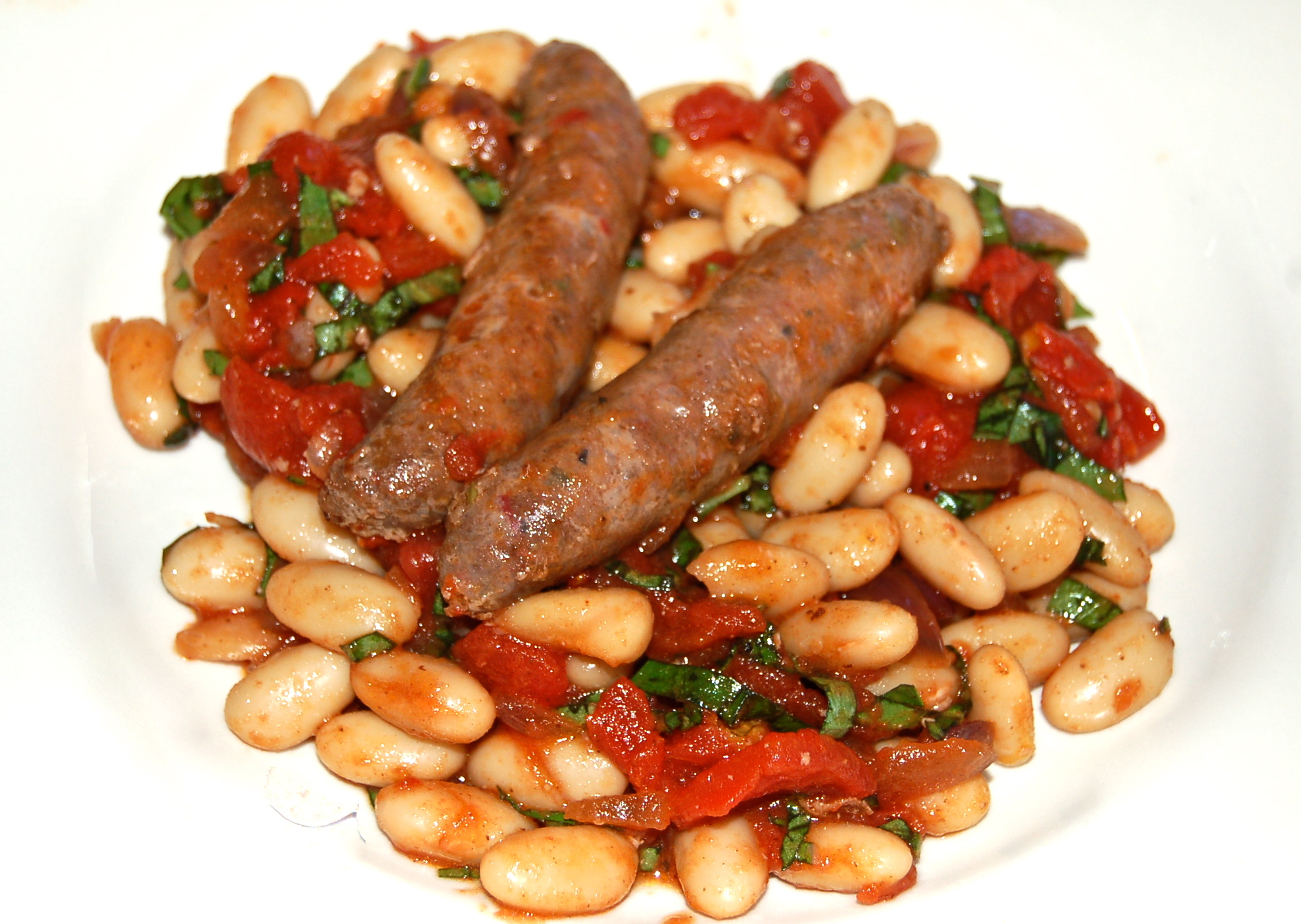August 12, 2012 Merguez Lamb Sausage With Cannellini Bean Stew