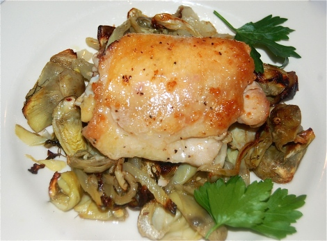 Chicken Thigh on a bed of Fennel, Artichokes  & Onions