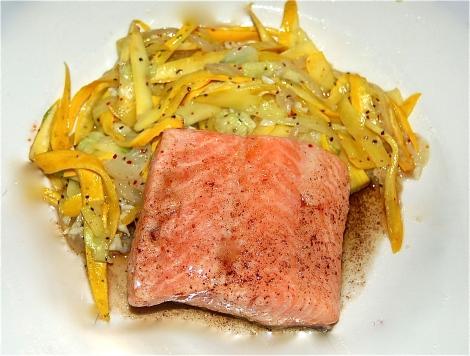 Salmon with Zucchini Fettuccine