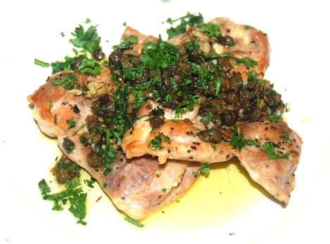 Chicken with Garlicky Lemon-Anchovy Sauce