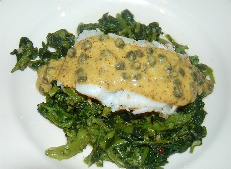 Cod floating on a bed of Broccoli Rabe